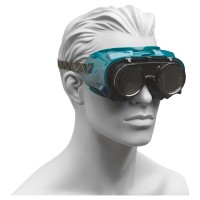 Schweißerbrille mit Gummiband und aufklappbaren Gläsern