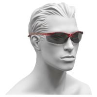 Arbeitsschutzbrille, mit grauen Gläsern und rotem Rahmen