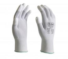 Fehér, PU ujjvégmártott nylon szerelőkesztyű, 18G, PRÉMIUM minőség
