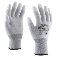 PU ujjvégen mártott kesztyű, karbonszálas